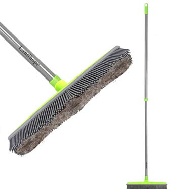 Push Broom Rubber Bristles Sweeper with Squeegee Edge